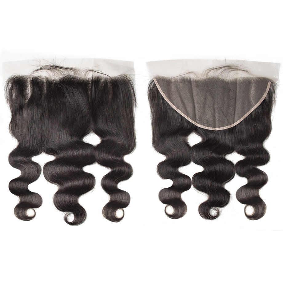 Прозрачная Кружевная Фронтальная 13x6 фронтальная кружевная волна бразильские предварительно собранные человеческие волосы Hd фронтальная кружевная застежка волосы remy