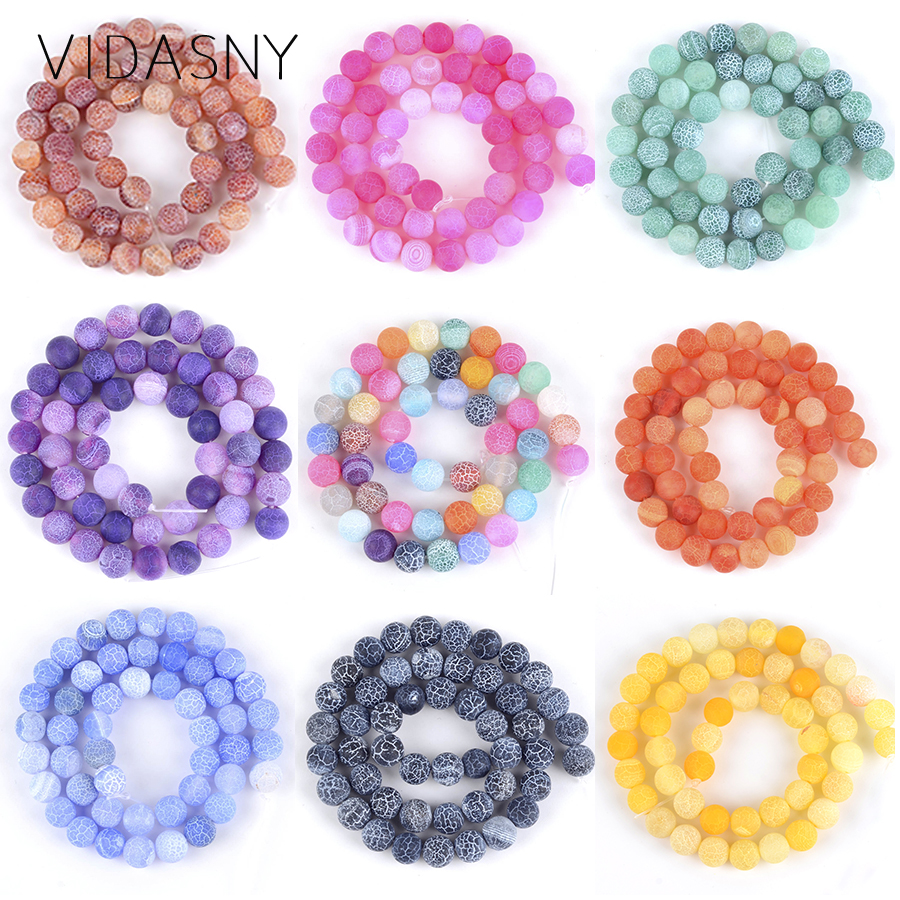 Natural Mix Stone Matte Frost Cracked Green Purple Blue Agates Beads For Jewelry Making Onyx Beads Diy Bracelet Necklace 15''