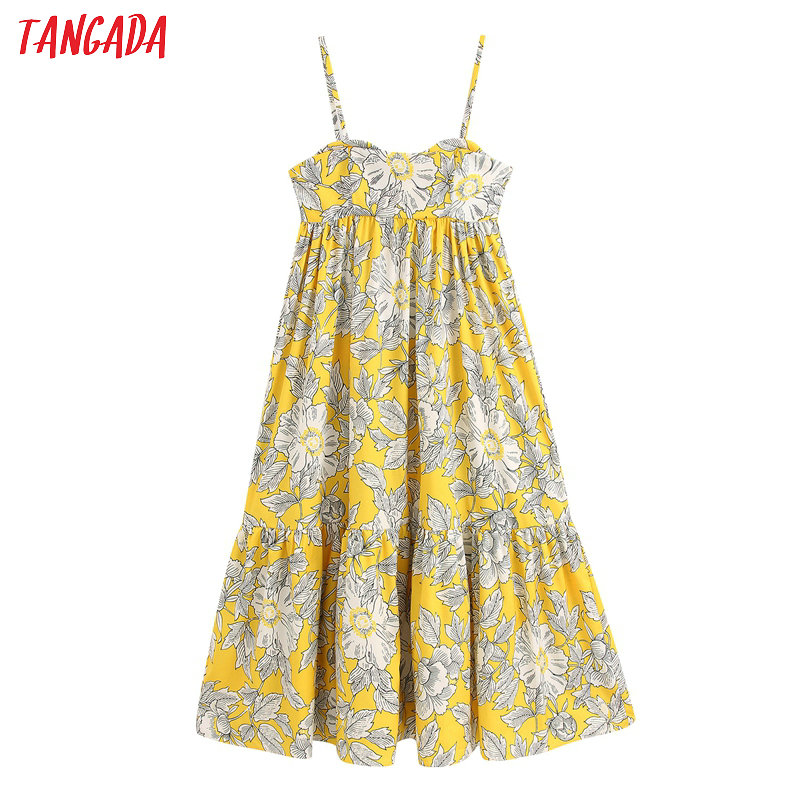 Tangada Fashion Women Yellow Flowers Print Dress Strap Sleeveless 2020 Fashion Ladies A-line Maxi Dress Vestidos BE158