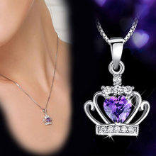 925 Sterling Sliver Necklace Queen Princess Crystal Crown Zirconia Heart Pendant Necklace For Women 45cm Chain S-N98(China)