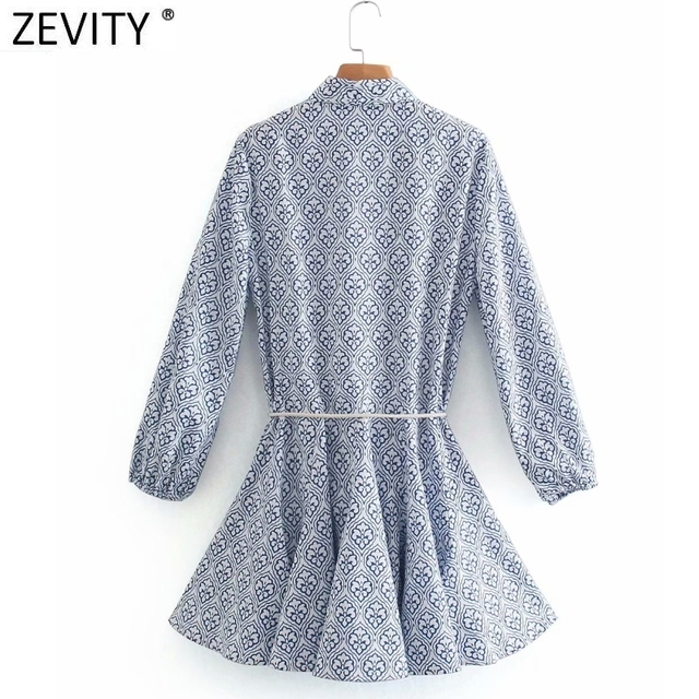 Zevity Women Vintage Totem Floral Print Big Swing Ruffles Mini Shirt Dress Female Chic Breasted Lace Up Sashes Vestidos DS8133 2