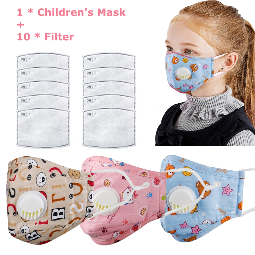 Reusable Kid Cotton Cloth Mask PM2.5 Anti Smog Dust Gas Valve With Activated Carbon Filters Safety Children Face Mouth Mask
