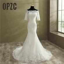 Недорогое элегантное кружевное свадебное платье Русалка с коротким