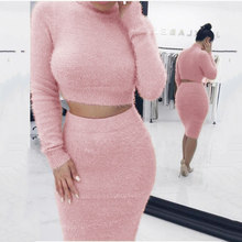 Laamei 2019 Women Sweater+Pencil Skirt Suit Long sleeve Fleece Crop Tops Bodycon Skirt 2 Pieces Set Women Knitted Tracksuit(China)