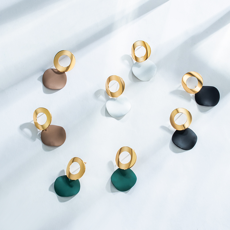 POXAM 2020 Korean Statement Round Dangle Drop Earrings for Women Fashion Vintage Geometric Sequin Hanging Gold Earrings Jewelry