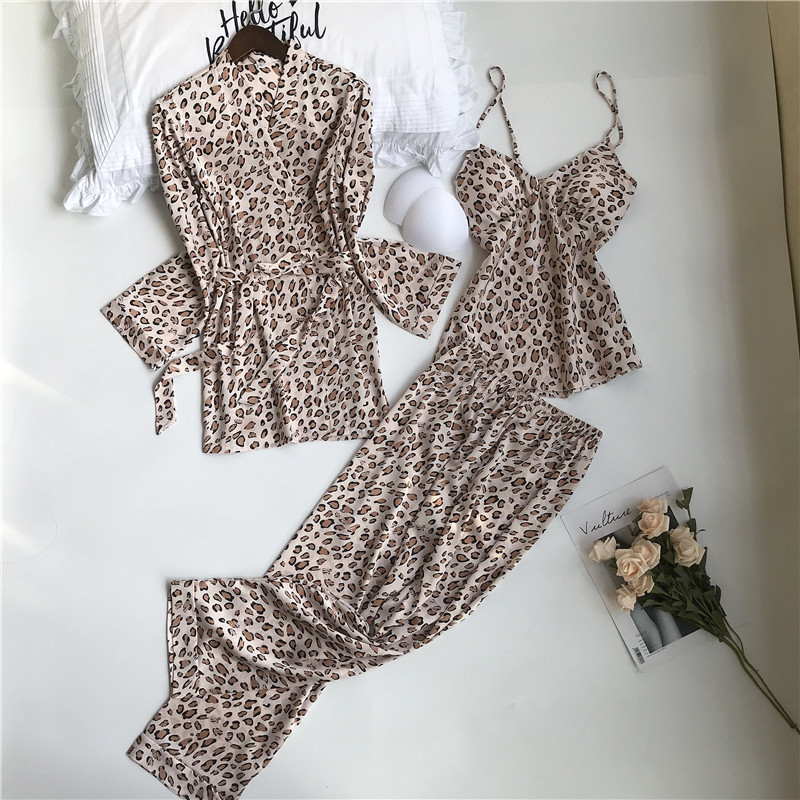 JULY'S SONG Woman Spring Pajamas Set 3 Pieces Satin Faux Silk Leopard Printing Sleep Sleepwear Autumn Sling Long Pants Homewear