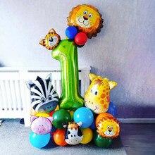 34 pçs/set Animal Da Selva Conjunto 40 polegada Verde Número Um Balão de alumínio Balões Crianças Festa de Aniversário Do Menino Decoração Fontes Do Chuveiro de Bebê