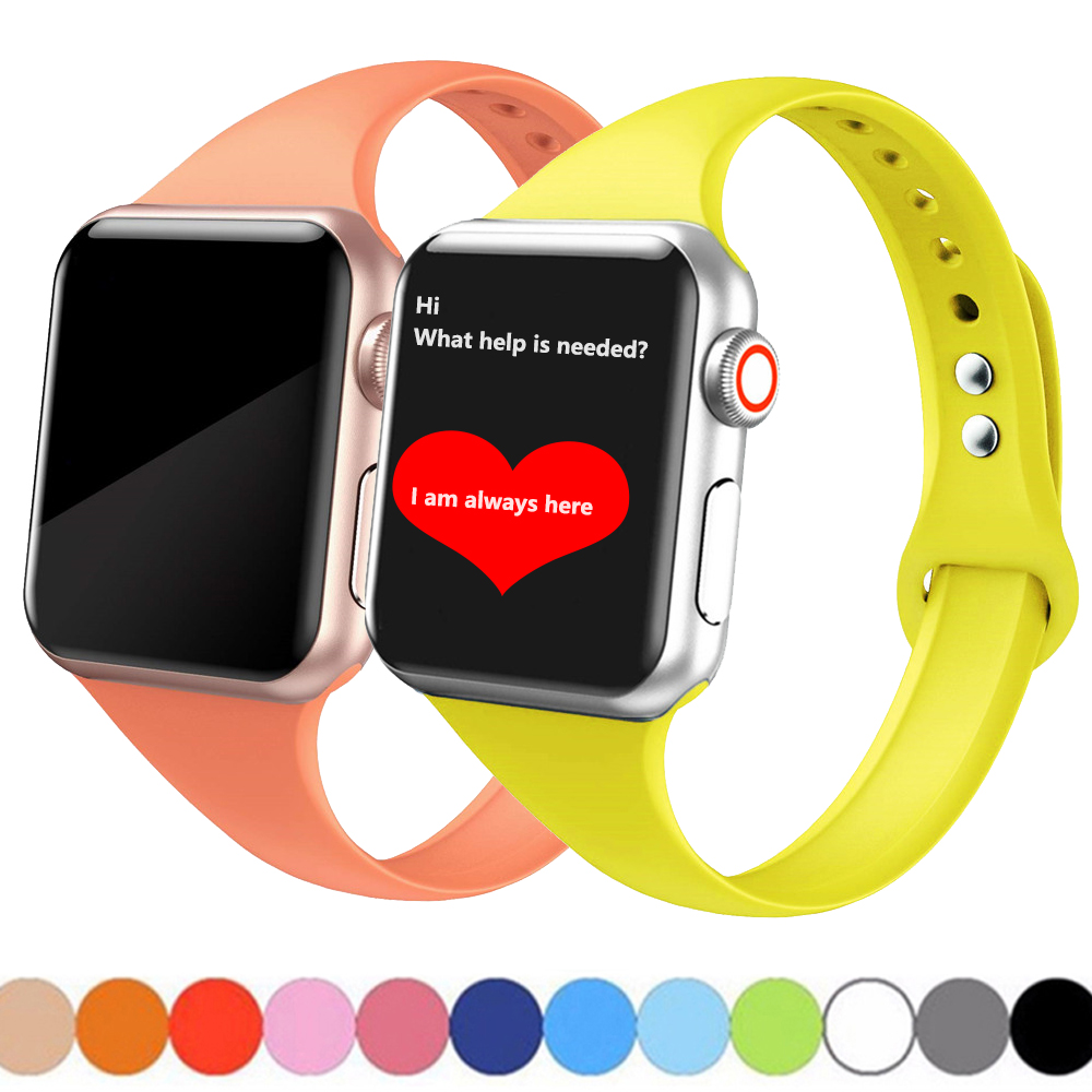 Strap For Apple Watch 5 4 Band 44mm 40mm Apple Watch 3 2 1 Band Iwatch 42mm 38m Slim Silicone Pulseira Correa Bracelet Watchband