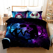 3D Skull Nightmare Christmas Duvet Cover Sets,Jack and Sally Valentine's Day Rose Decor,100% Microfiber Galaxy Bedding Set 3pcs