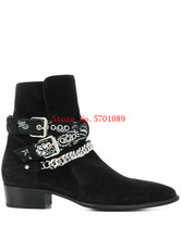 Man Rock Western Cowboy Boots Genuine Suede Leather Black Suede Bandana Buckle Boots Pointed Toe Buckle Chain Boots Shoes choudory luxury brand leather italian western high heels pointed toe studded cowboy boots military black punk shoes man size12