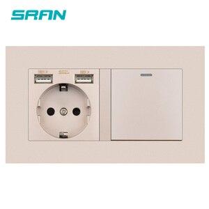 Image 3 - SRAN enchufe europeo con interruptor basculante, toma de corriente de pared 220v 16A con Panel de Pc Usb 146*86 con interruptor de luz, 1 entrada y 1/2 vías de salida
