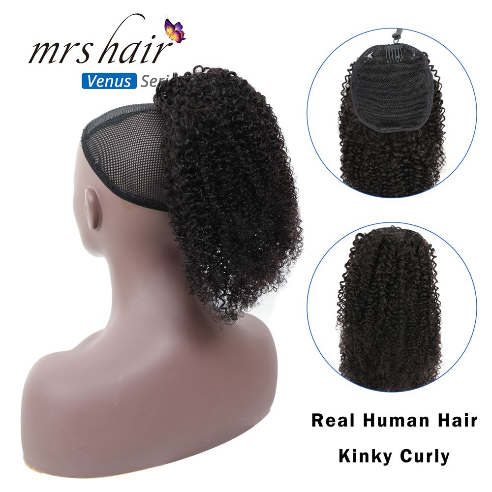 MRSHAIR Afro Kinky Curly Ponytails Puff Virgin Hair For Black Women Hair 4b 4c Coily Drawstring Perruque Afro Cheveux Clip In
