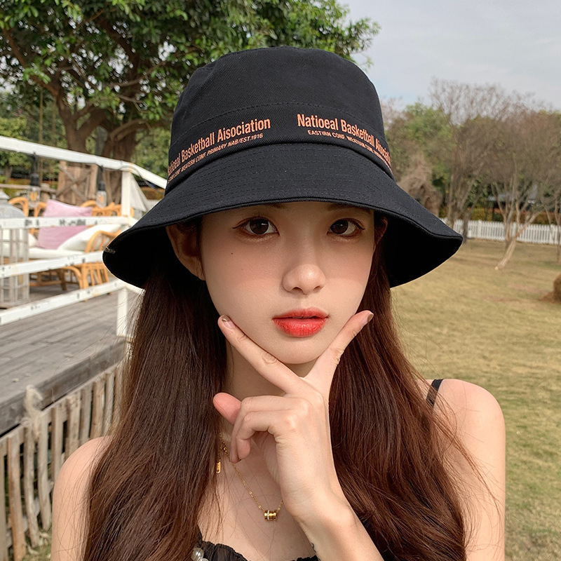 Bucket Hat Hat Female Fisherman Hat Summer Sun Protection Hat  Trendy Sun Hat Cover Face Fashion Trendy Brand Show Face Small