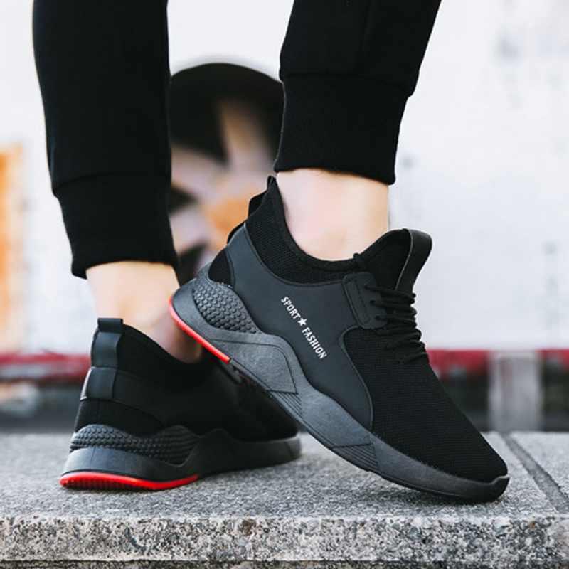 Oeak Torridity siyah erkekler vulkanize ayakkabı nefes rahat spor erkek Sneakers örgü eğitmenler-up düz ayakkabı artı 39-44