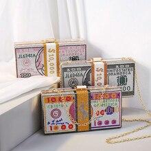 Bling Purses Handbags Rhinestone Evening-Hangbag Women Luxury Money-Bag USD Cion Dollar-Style