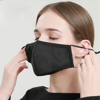 Reusable Face Mask Black Soft Washable Mouth Cap Cotton Blue Mouth Cover Insert Adjust Earhook for Women and Men Mascarillas
