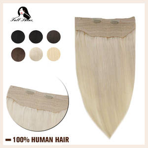 Full Shine Fish Line Hair Extensions Sewing Ribbon Machine Made Remy Hair One Piece Solid Color Double Weft Hair Weaving Hair