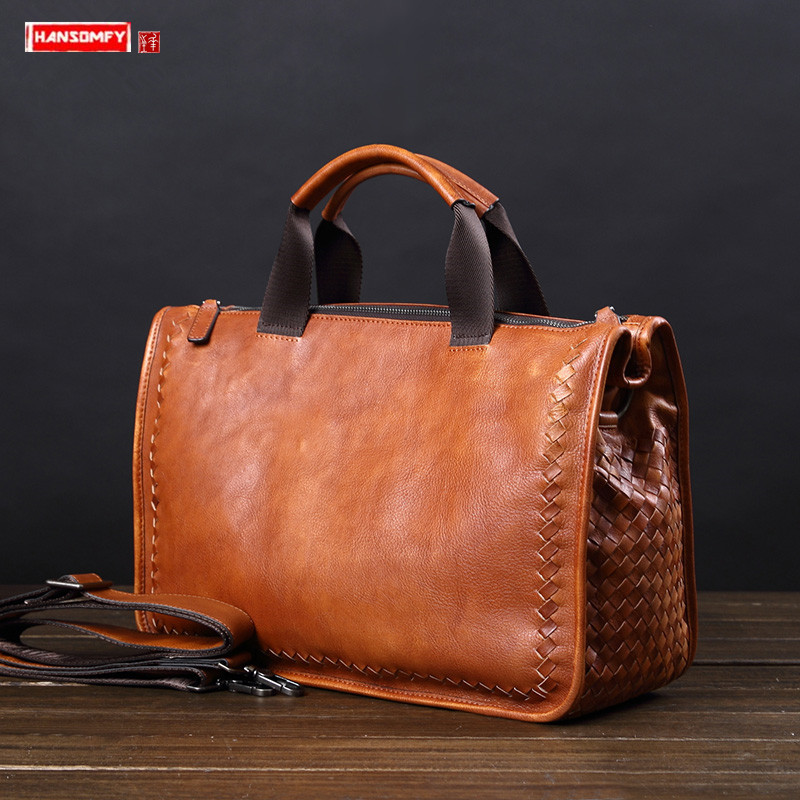Vintage Genuine Leather Men's Handbag Retro Casual Travel Shoulder Messenger Bag Hand-woven Business Briefcase Male Laptop Bags