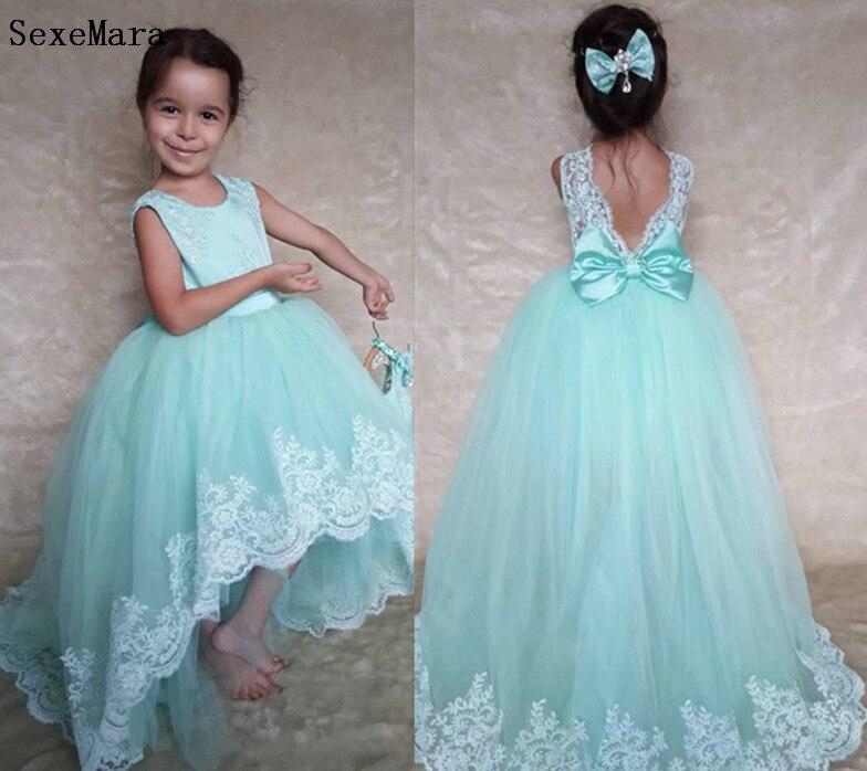 Flower Girl Dresses Lace Applique Pageant Dresses For Girls Communion Dresses Kids Birthday Prom Dresses