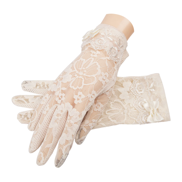 Women's Elegant Lace Gloves Wrist Sun Protection Driving Gloves for Summer Touch Screen Anti-Slip Fabric 5