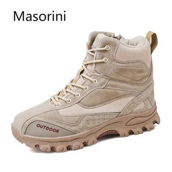 Męskie buty marki męskie buty bojowe Outdoor antypoślizgowe męskie buty wojskowe męskie trampki zimowe klasyczne męskie obuwie ochronne obuwie męskie tanie i dobre opinie Masorini Pracy i bezpieczeństwa Skóra Split Połowy łydki Stałe Mesh Okrągły nosek RUBBER Zima Niska (1 cm-3 cm) boots shoes A01