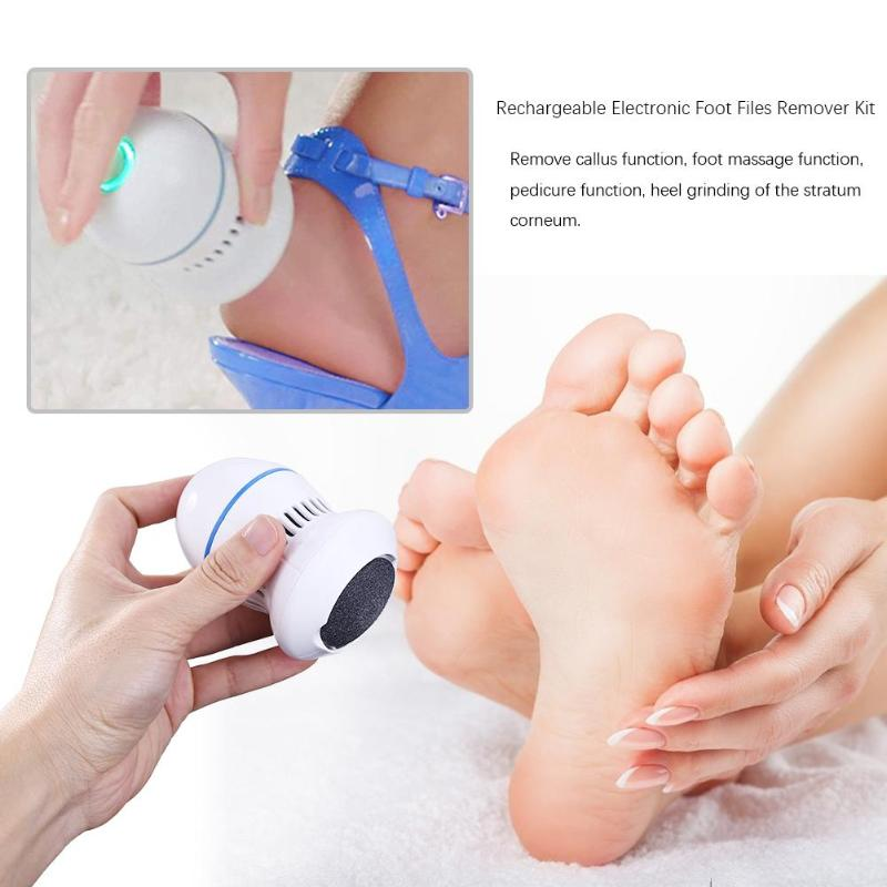 Rechargeable Electronic Foot Files Pedicure Pedi Vac Cracked Dead Skin Remover Kit Feet Care Perfect For Hard Cracked Skin