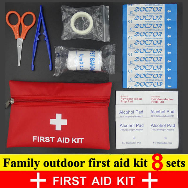 8Pcs סט נסיעות אביזרי חיצונית עמיד למים משפחת מיני בטוח חירום ספורט הישרדות רפואי טיפול קיט