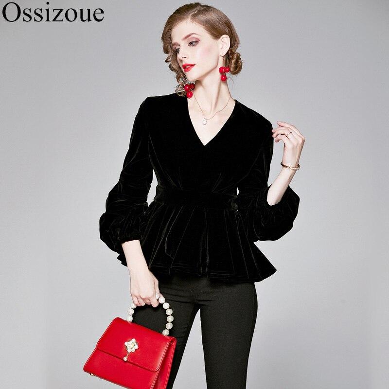 2019 haute qualité velours noir chemise femmes volants col en v hauts et chemisiers automne manches longues chemise Vintage Blusas Mujer