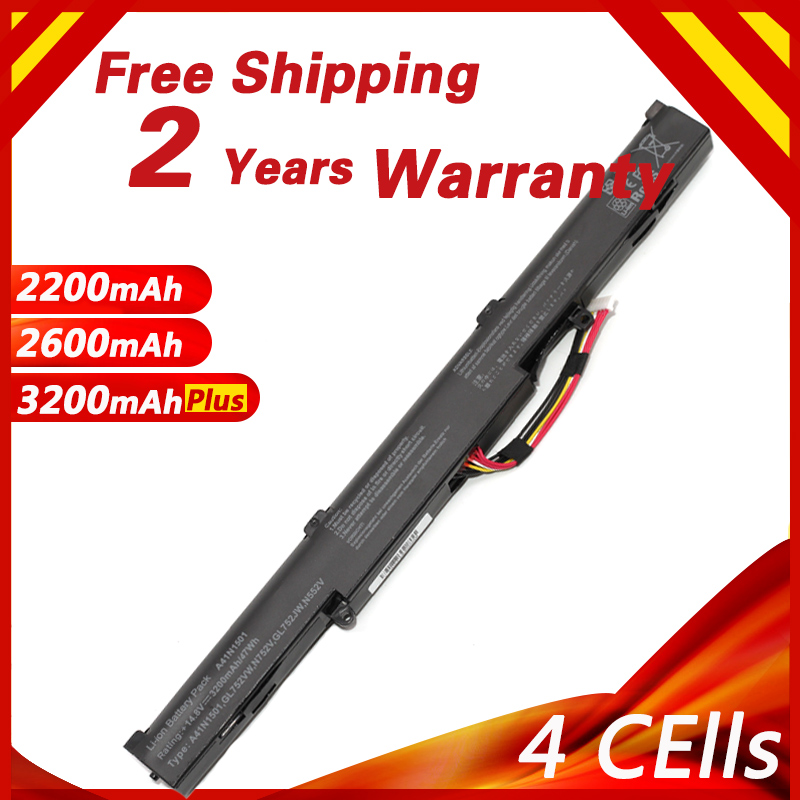 Goloolo 4 CELLS Laptop Battery for ASUS A41N1501 GL752JW GL752 GL752VL <font><b>GL752VW</b></font> N552 N552V N552VW N752 N752V N752VW Series image
