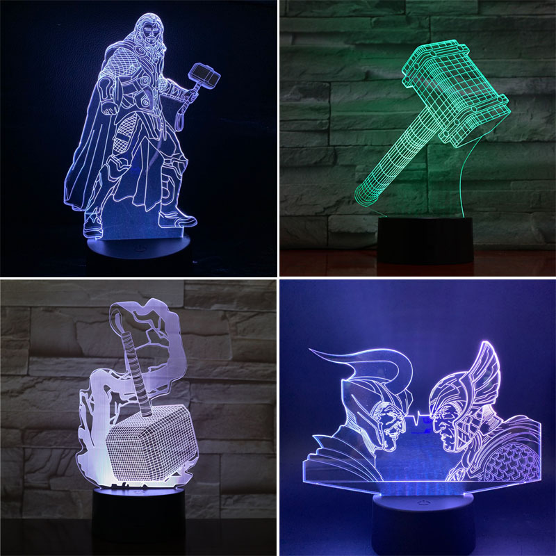 Disney Avengers 3D LED Night Light Thor 7 Color Changing Lamp Room Decoration Action Figure Toy For Christmas Gift
