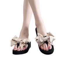 Bow Small Fresh Flip Flops Cross-Border-Style Platform Platform Non-Slip Sandals Women's Wish Hot Holiday Slippers Women's