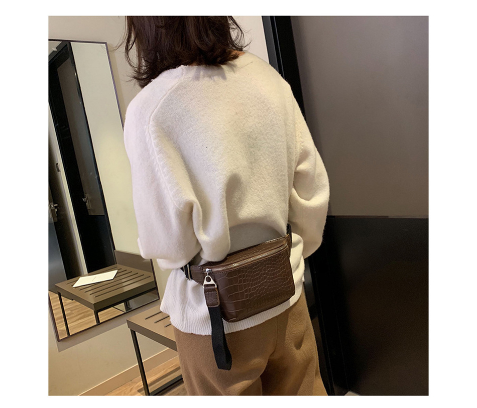 Herald Fashion Women Bag Crocodile Pattern Messenger Chest Bag Waist Pack Belt Clutch Female Fanny Pack Handbag Crossbody Bag