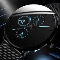 Męskie zegarki męskie podświetlany zegarek kwarcowy Casual slim, z siatką stalową wodoodporny zegarek sportowy 2020 prezent Relogio Masculino kol saati