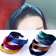 Autumn And Winter New Knotted Velvet Hairbands Wide Band Cloth Headband Women Simple Hair Accessories(China)