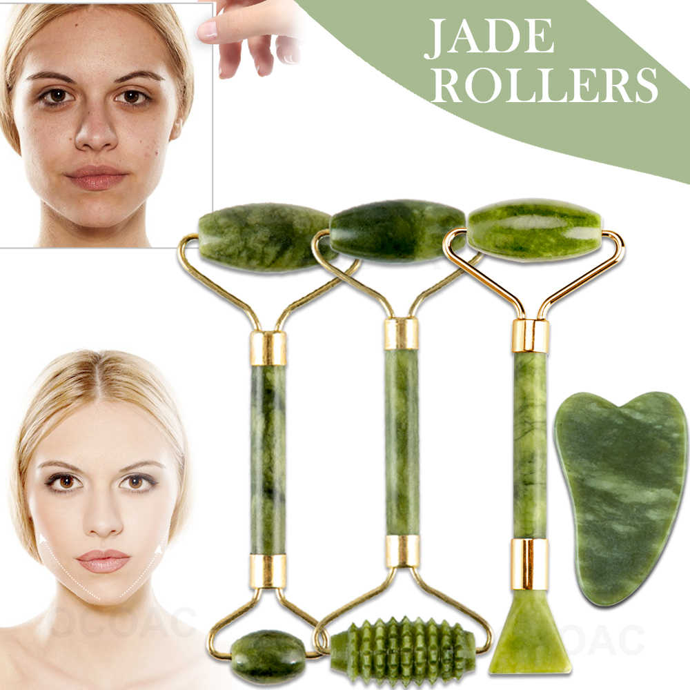 นวดหน้า Jade Roller ชุดสีเขียว Facial Natural Gouache Scraper Body Back Beauty Skin Care Slimming นวด Roller