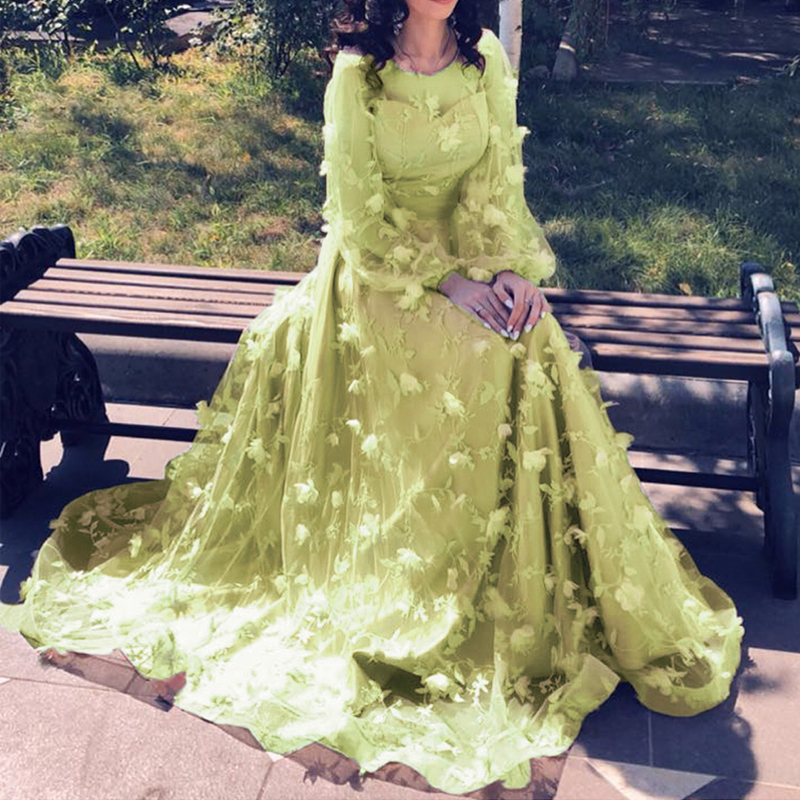 Princess Long Sleeves Flower Formal Evening Dresses Long Fashion Elegant Formal Party Prom Gowns Vestido de Festa2019 in Evening Dresses from Weddings Events