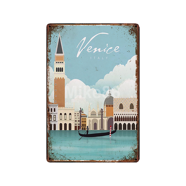 [ Mike86 ] Travel Metal Sign Custom Vintage Retro Venice Ireland Cairo Iron Painting Pub Store City Poster Art 20*30 CM  LT-1829