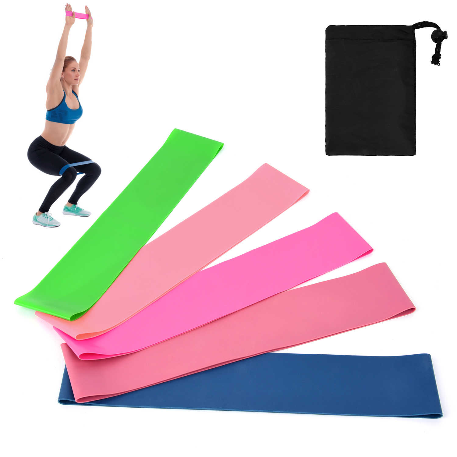 5pcs Resistance Bands Set Latex Booty Elastic Loop Circle Exercise Fitness Gym