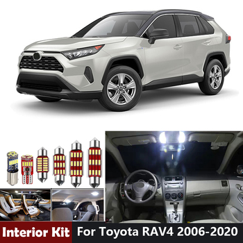 White Canbus Led Bulbs Led Interior Light Kit For Toyota RAV4 2006-2015 2016 2017 2018 2019 2020 Trunk License Plate Light image