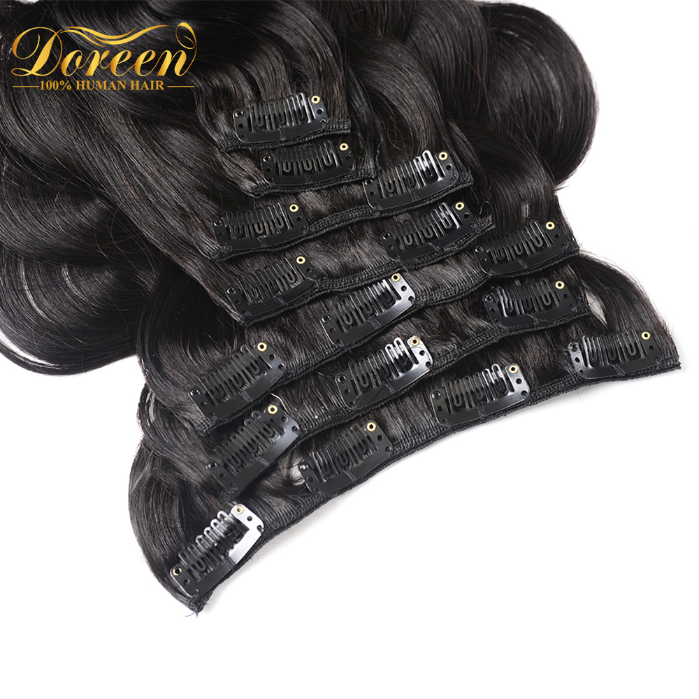 Hair-Extensions Clip Human-Hair Doreen for Adding Volume 7pieces-Machine Remy Full-Head-Set