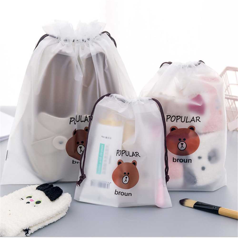 cartoon Bear Drawstring Bag Transparent travel organizer Shoes Storage Bag Clothes Packing travel accessories