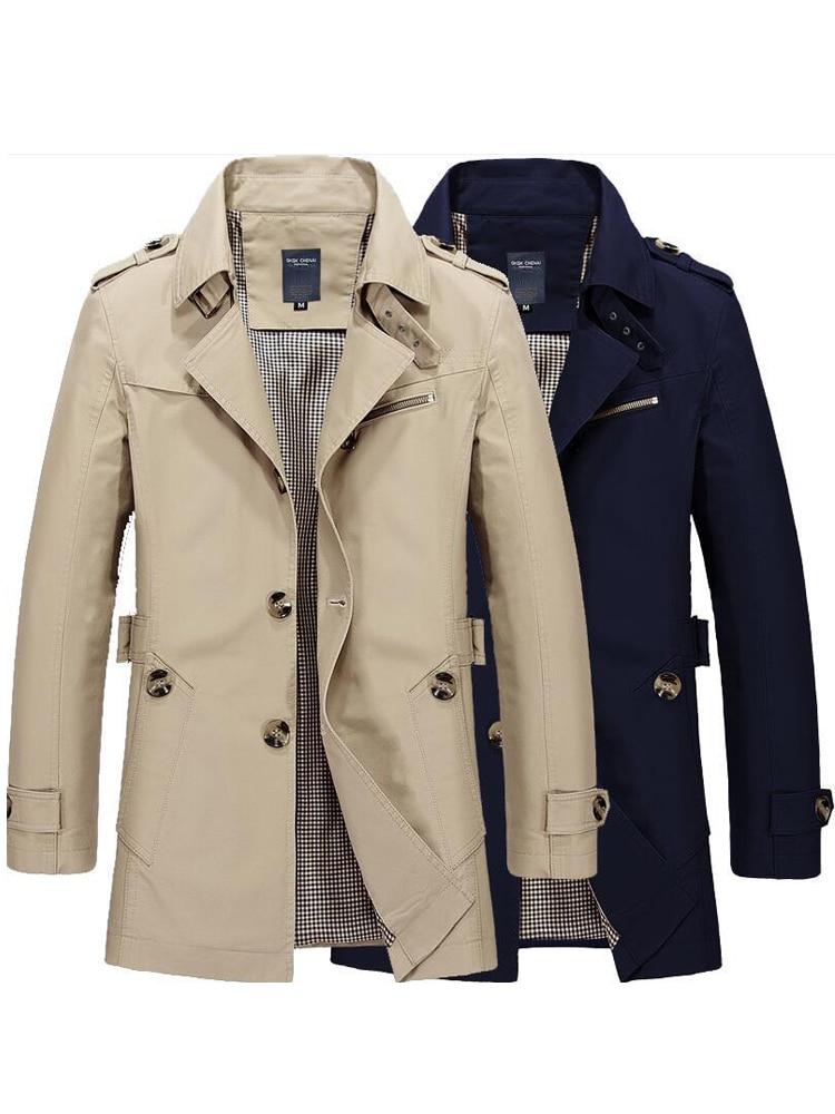 Windbreaker Jackets Coat Outwear Trench Male Autumn Men Winter Fashion Casual Mens Cotton
