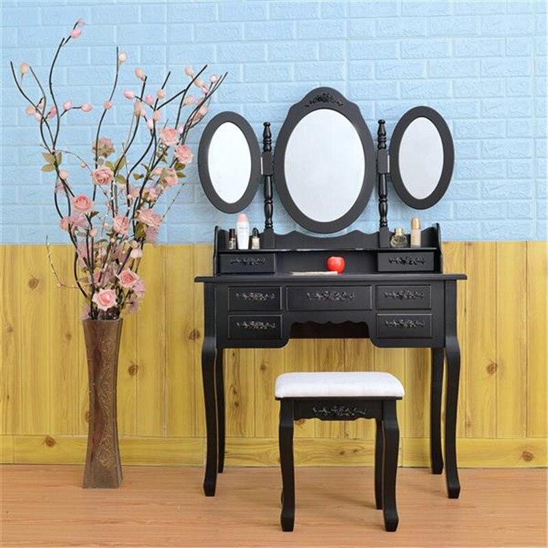 Bedroom Ladies Makeup Dressers Vanity Dressing Table Vintage Removable Desktop Stool 3 Mirrors 7 Drawers with Chair Set