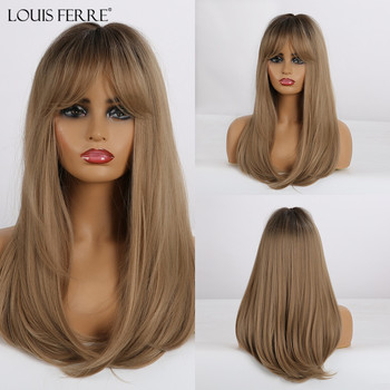 LOUIS FERRE Long Straight Synthetic Wigs with Bangs Ombre Black Brown Blonde for White/Black Women Heat Resistant - discount item  52% OFF Synthetic Hair