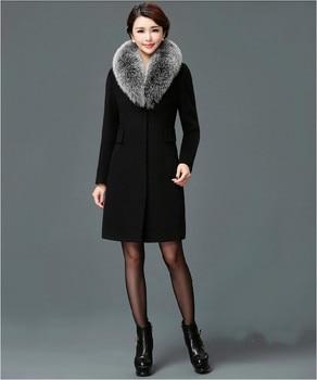 Γυναικείο παλτό με γούνινο οικολογικό γιακά Γυναικεία Παλτό Ρούχα MSOW