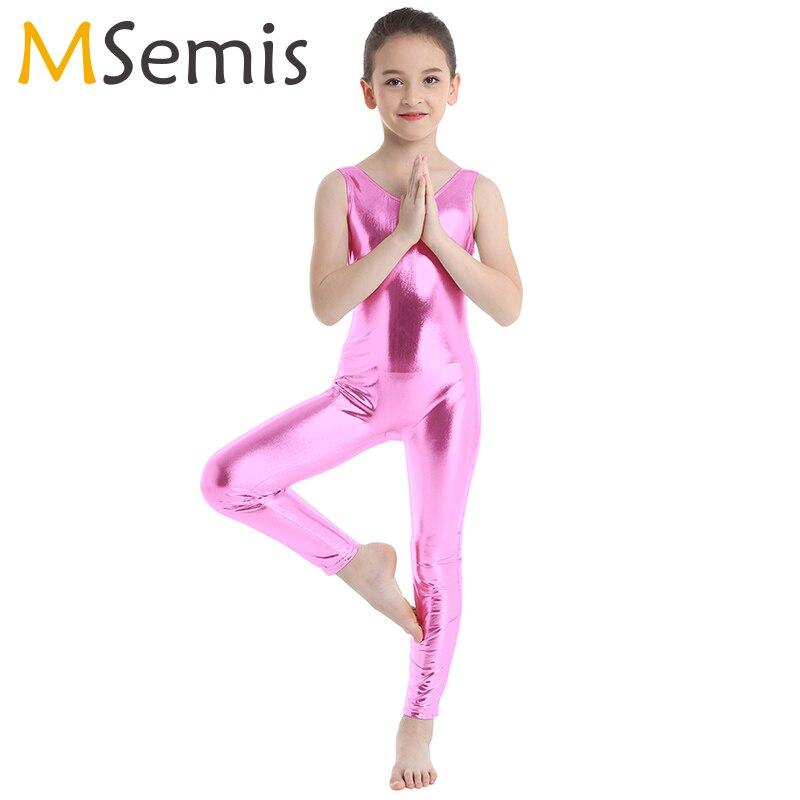 Kids Ballet Leotard For Girls Costumes Shiny Ballet Dance Gymnastics Leotard Jumpsuit Unitard Dancewear For Stage Performance