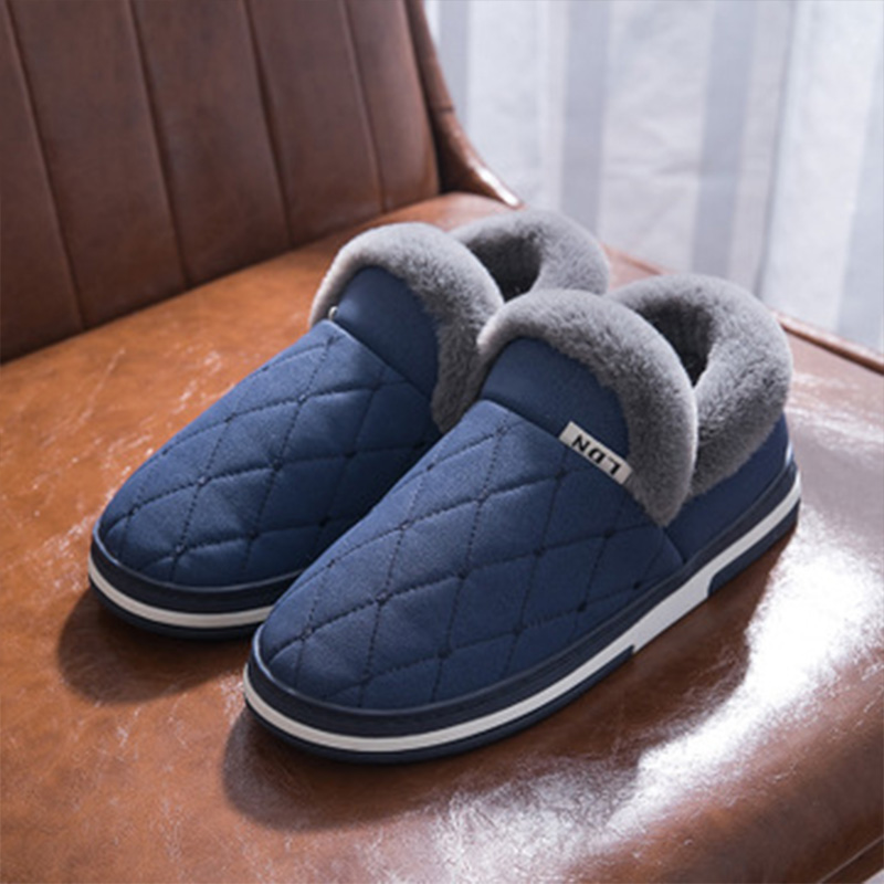 Winter Warm Slippers Men Suede Gingham Short Plush Indoor Shoes For Male Slip-on Cozy Velvet Waterproof Fur Home Slippers Lover