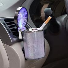Car ashtray with LED light cigarette cigar ashtray container ashtray gas bottle smoke cup holder storage cup car supplies aluminum multifunction car ashtray portable automobile ashtray cigarette ashtray smoke cup holder led lamp mounted ashtray