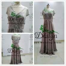 Женское шифоновое платье для матери невесты серое ТРАПЕЦИЕВИДНОЕ