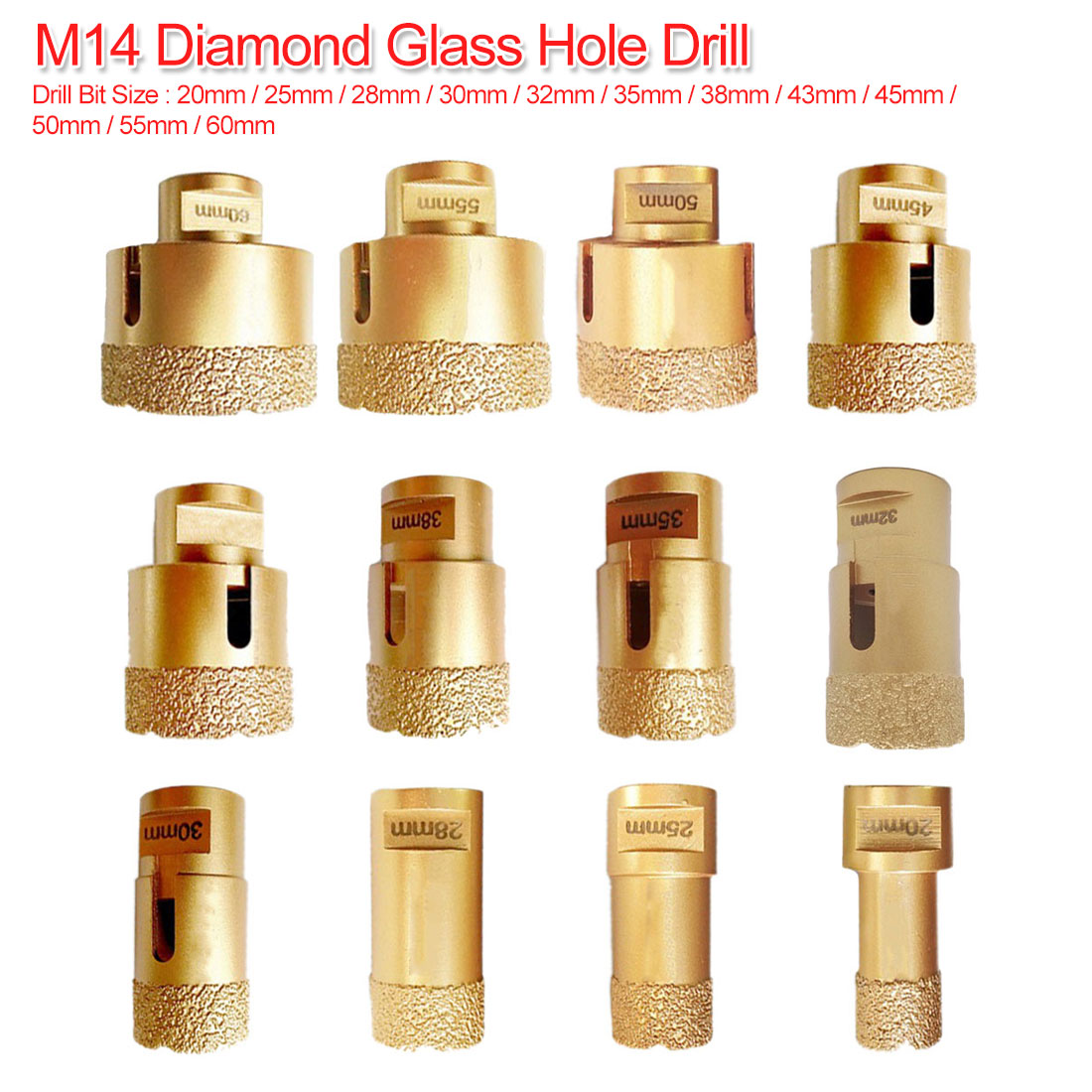 Dry/Wet Drilling 20mm-60mm Diamond Vacuum Brazed Drilling Core Bits M14 Connection Drill Bits Hole Saw Diamond For Tile Stone